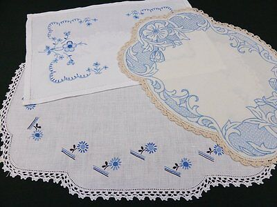 3 White & Cream Vintage Linen Traycloths ~ Lovely Hand Embroidered Blue Flowers