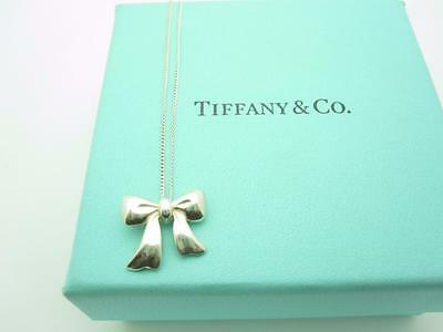 """Tiffany & Co. Sterling Silver Ribbon Bow Pendant Necklace 18"""""""