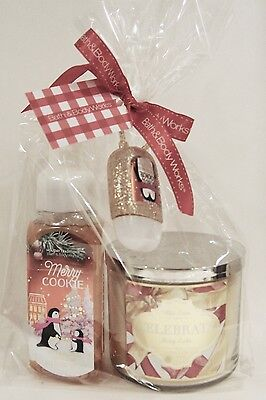 Bath And Body Works Merry Cookie Clean & Cozy Gift Set -Candle, Soap, Pocketbac