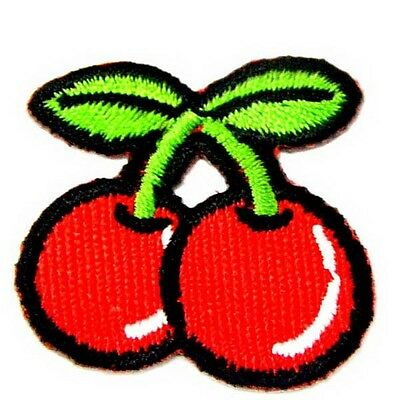 """Pair Of Cherry Fruit 1.4"""" Iron On Patch Sewing Emblem Motif DIY Appliques I0393"""