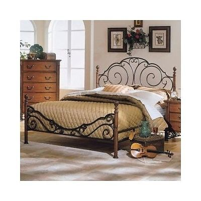 vintage antique metal queen bed poster frame furniture headboard footboard home