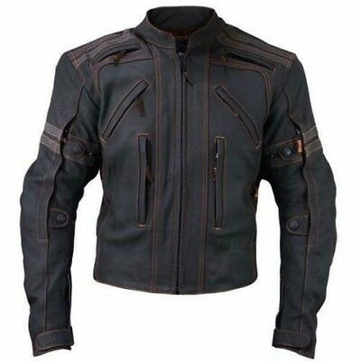 Vulcan Black Professional Motorbike Racing coat Leather Jacket Jacke All Sizes