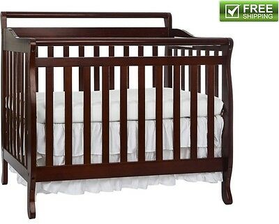 Convertible Baby Bed 3 IN 1 Mini Toddler Crib Cherry Portable Nursery Kids New!