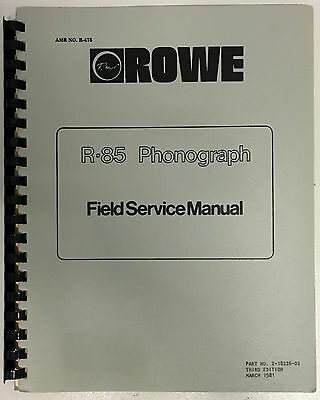 JUKEBOX MANUAL - ROWE R-85 FIELD SERVICE MANUAL - AMR No.475