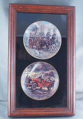 Robert Banks Miniature Vintage Fire Truck Plates Framed (Lot 1)