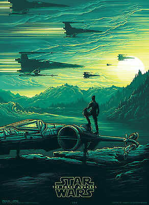Lot of (4) STAR WARS THE FORCE AWAKENS ~ IMAX poster #2 ~Poe with X-Wing Fighter