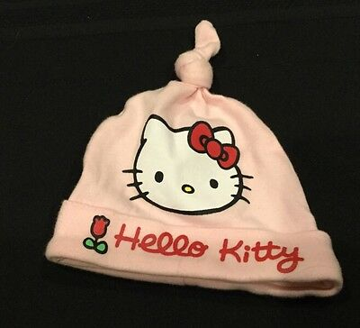 Girl's Kids HELLO KITTY Winter Beanie Hat Pink with Hearts, Size 3-6