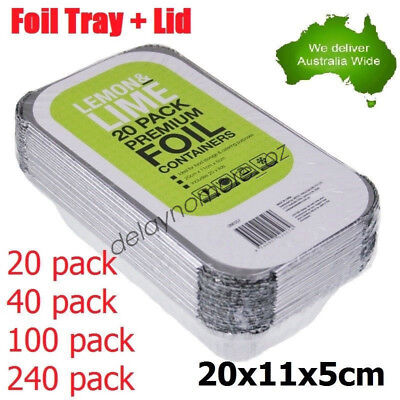 Aluminium Foil Trays BBQ Disposable Roasting takeaway Oven Baking Party with lid
