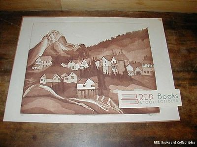 Mountain Village Print 1977 Barnett 1 of 20 Issued FREE US SHIPPING