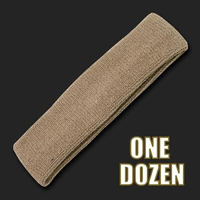 One Dozen Khaki Beige Terry Cloth Elastic Sports Headband Headbands Sweatbands