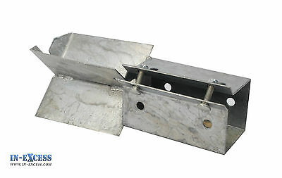 "Concrete In Fence Support 75 x 75mm 3"" Post Holder Galvanized Steel Bolt Grip"