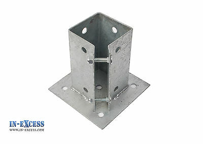 "Bolt Down Post Support 75 x 75mm 3"" Square Clamp Fence Galvanized Steel"