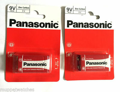 3 x PANASONIC 9V BATTERY MN1604 Square Block Smoke Alarm Zinc Carbon Batteries