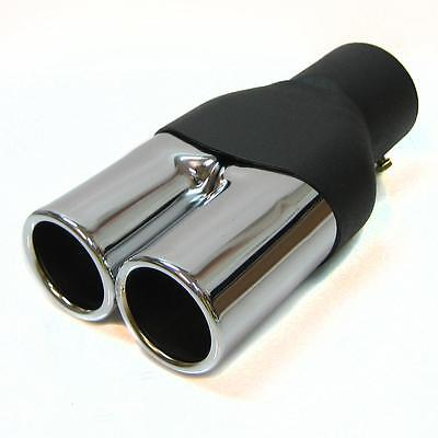Universal Twin Exhaust Pipe Double Tip Muffler Trim Chrome Endpipe