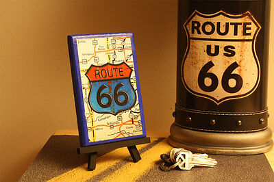 Route 66 Wall Art Custom Handmade With Rte 66 Shield And Map Background