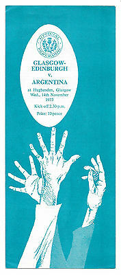 1973 - Glasgow-Edinburgh v Argentina, Touring Match Programme.