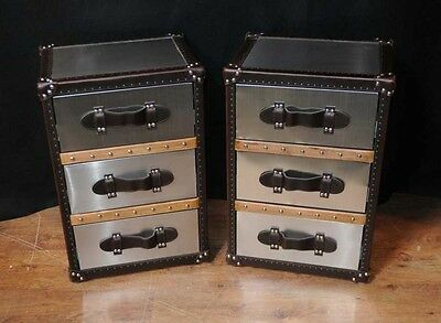 Pair Industrial Nightstands Bedside Chests Tables Cabinets Deco Metal • £695.00