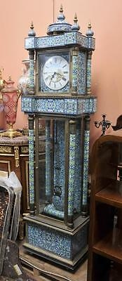 French Antique Cloisonne Grandfather Clock Chinese Original Champleve