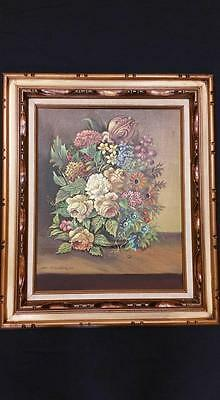 "J. Collazzi oil painting beautiful bucay of flowers wooden frame 28"" x 24"""