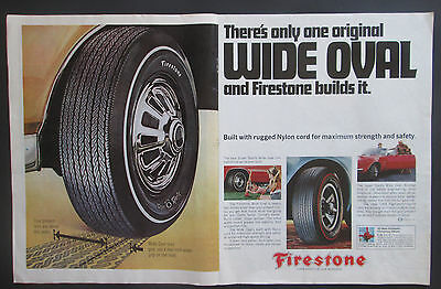 Firestone Wide Oval Tire1966 Double Page Original Vintage Print Ad