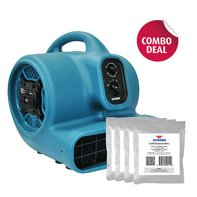XPOWER P-450AT 1/3 HP Scented Air Mover Carpet Dryer Fan+ 5 Scented Bead Packs