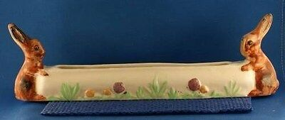 Shorter and Sons Pottery Rabbit Posies Posy Trough Vase Vintage 1930's