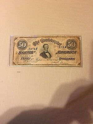 $50 dollars 1864 confederate money xfkpl