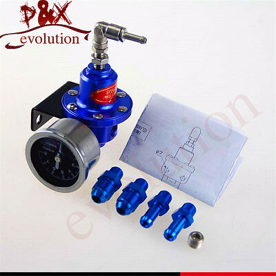 Blue Aluminum 140 PSI Adjustable 1:1 Fuel Pressure Regulator +KPa Oil Gauge Kit
