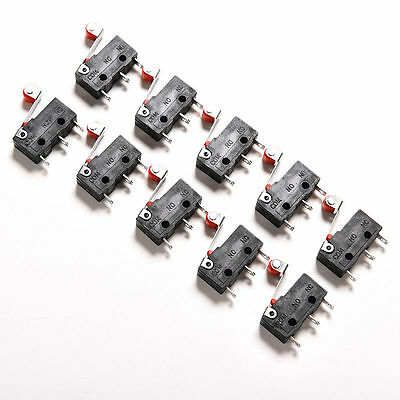 10Pcs Micro Roller Lever Arm Open Close Limit Switch KW12-3 PCB Microswitch Nice