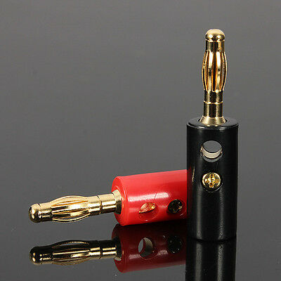 2 pcs 4mm banana plug male connector Gold plate - 1 x RED ---- 1 x Black