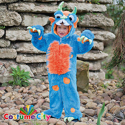 Childs Toddlers Boys Plush Blue Monster Fancy Dress Halloween Party Costume