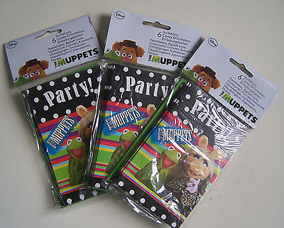 """Lot De 3 X 6 Cartes D' Invitation """" The Muppets Party ! """" - Neuf, Emballe -"""