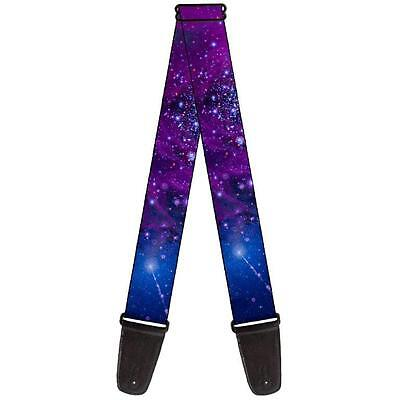 Outer Space Purple Blue Shining Stars Guitar Strap