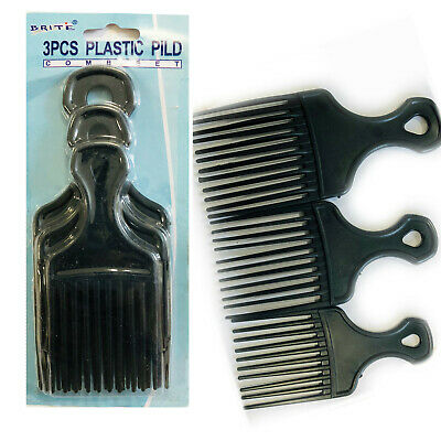 2 Afro Comb Hair Pick Black Pik Wide Teeth Pick Lift Styling Comb Curly Salon