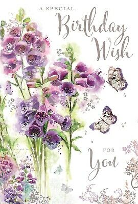 Female Ladies Birthday Card A Special Wish Foxgloves Butterflies