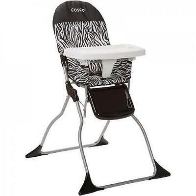 Baby Feeding High Chair Simple Folding New Seat Compact Adjustable Tray Zebra