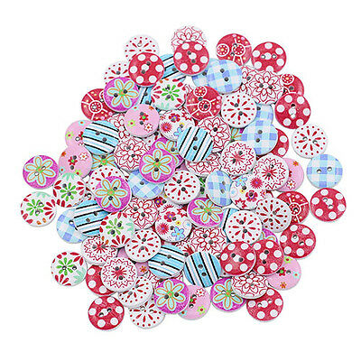 100X Circular Mix Wooden Painting Buttons Diy Craft Scrapbook Sewing Hot Pretty