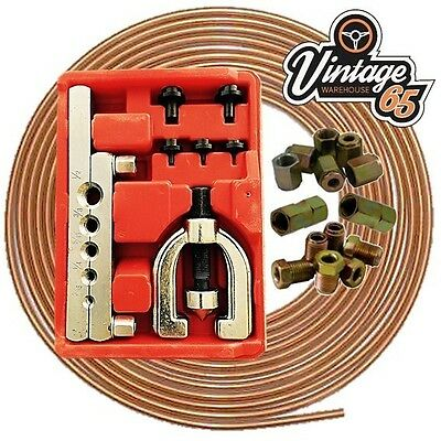 Rover Mini Classic Copper Brake Pipe Line Repair Flaring Tool Kit Nuts Ends