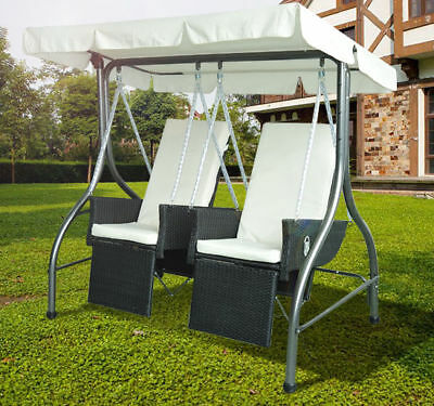 New Garden Rattan Swing Chair 2 Seater Cushioned Hammock Bench Seat Lounger Set