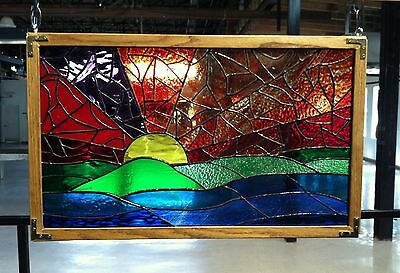 "Stained Glass Abstract Sunset with Oak Frame - signed by artist - 25"" x 16"""