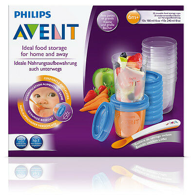PHILIPS AVENT GOURMET FOOD STORAGE SET 10x 180ML & 10x 240ML PACK