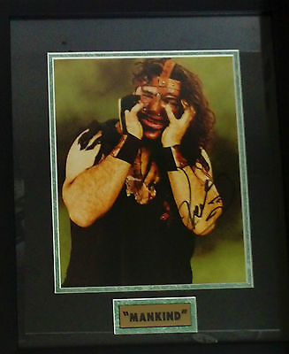 "Mankind WCW Wrestling Frame Signed Autograph 15"" x 11"" Certificate Authenticity"
