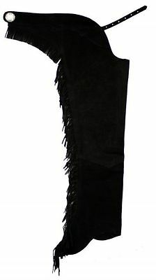 Western Riding Suede Leather Show Chaps FRINGE down both legs & Silver concho