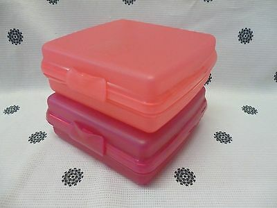 Tupperware Sandwich Keeper Lunch Box Set of 2 Pink & Coral New