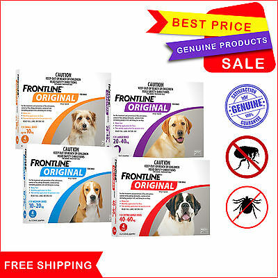 Frontline Original Flea & Tick Treatment by Merial 4 Pipettes for Dogs All sizes