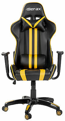 Merax Racing Gaming Chair Executive PU Leather Computer Desk Office Chair Yellow