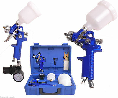 HVLP Air Gravity Spray Paint Gun Set W/ 2 Sprayer Paint Nozzle 0.8 mm + 1.4 mm