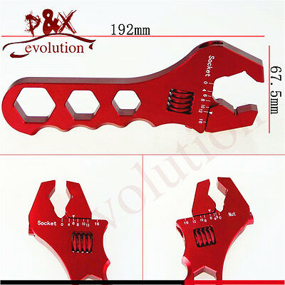 Red AN3-16AN Aluminum Spanner Adjustable Anodized AN3-16 Wrench Fitting Tools