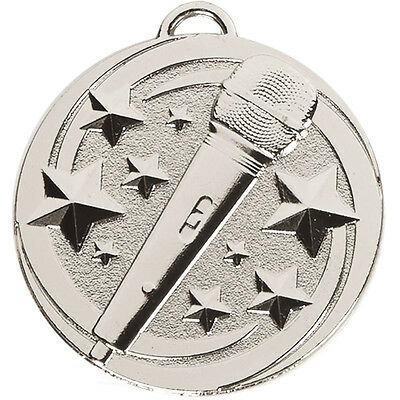 Silver Music Metal Medal School Singing Karaoke Free Ribbon Free P&P Am1049.02