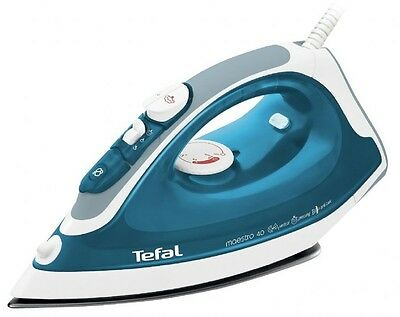 New Tefal Maestro 40 FV3740 Non-Stick Soleplate 2000W Steam Iron In Blue